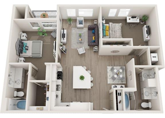 Element 25 apartments B6 2-bedroom 3D floor plan