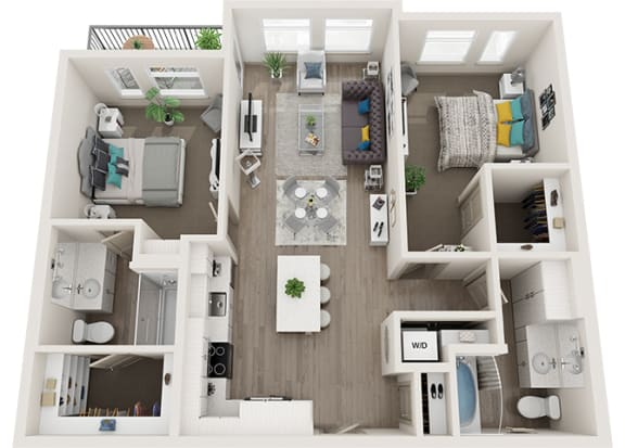 Element 25 apartments B7 2-bedroom 3D floor plan