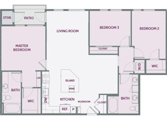 Element 25 apartments C1 3-bedroom 2D floor plan
