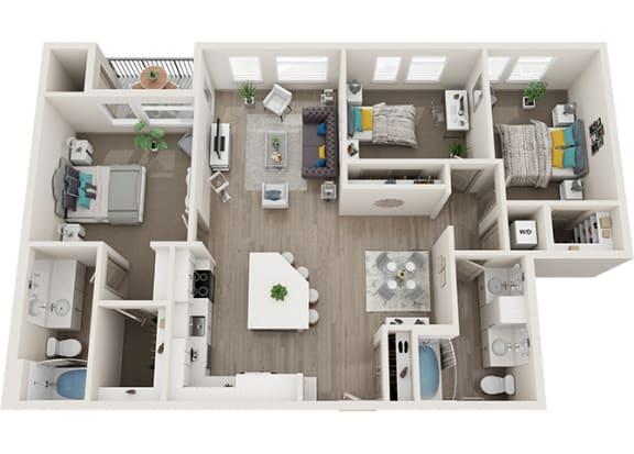 Element 25 apartments C1 3-bedroom 3D floor plan