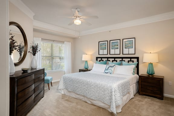 Carrington Place at Shoal Creek - Staged bedroom with ceiling fan