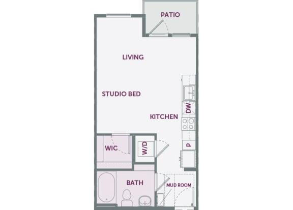 Element 25 apartments S1 studio 2D floor plan