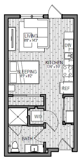 Floor Plan  Studio 1 Bathroom