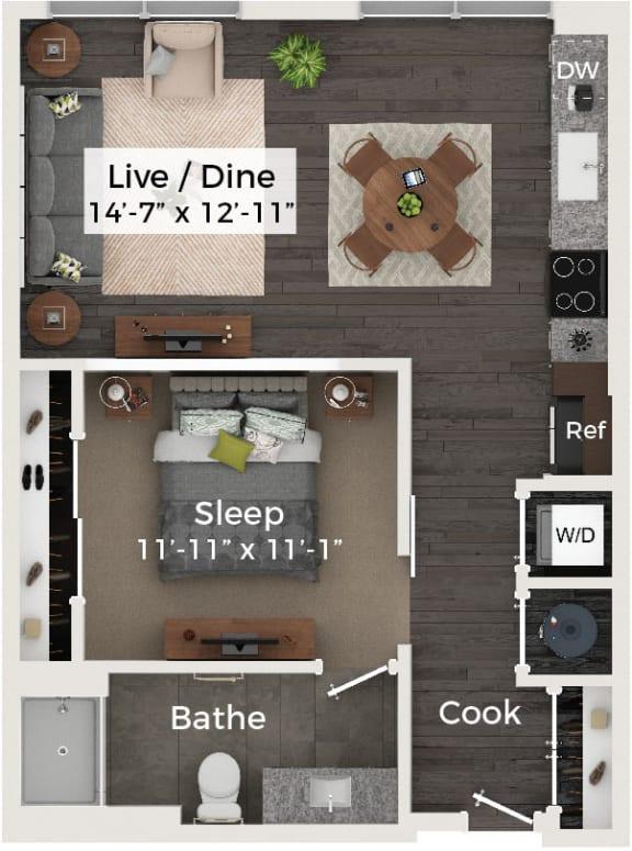 One bedroom One bathroom Floor Plan at Cameron Square, Virginia