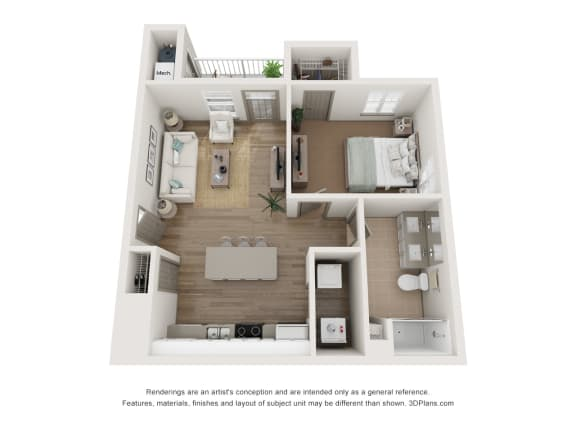 1x1 floor plan with patio