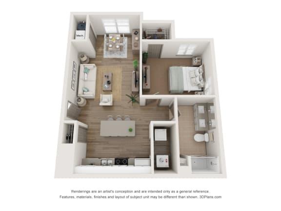Floor Plan  1x1 floor plan with sunroom