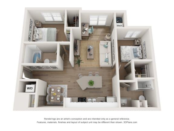 2x2 floor plan with sunroom