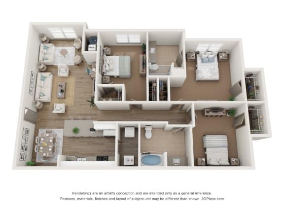 3x2 floor plan with sunroom