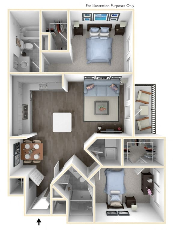 An edgy two bedroom apartment with modern space planning