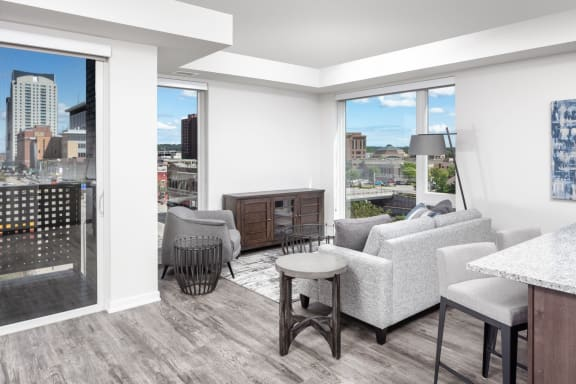 Apartments near Mayo Clinic with Balcony and City Views-The Maven on Broadway Apartments 425 S. Broadway, Rochester MN 55904