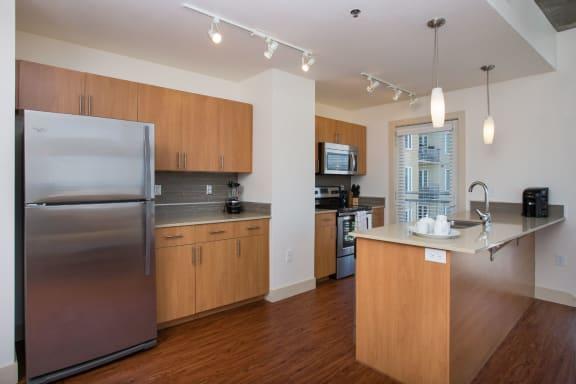 Kitchen With Modern Lighting at 2020 Lawrence, DENVER