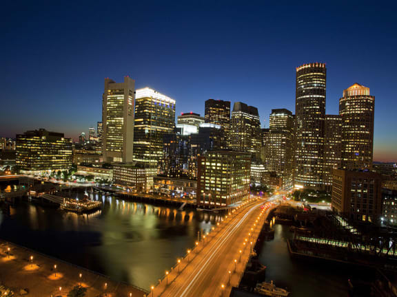 Beautiful View Of City In Light at The Benjamin Seaport Residences, Boston, 02210