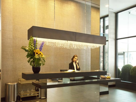 Welcoming Reception Area at The Benjamin Seaport Residences, Boston, MA