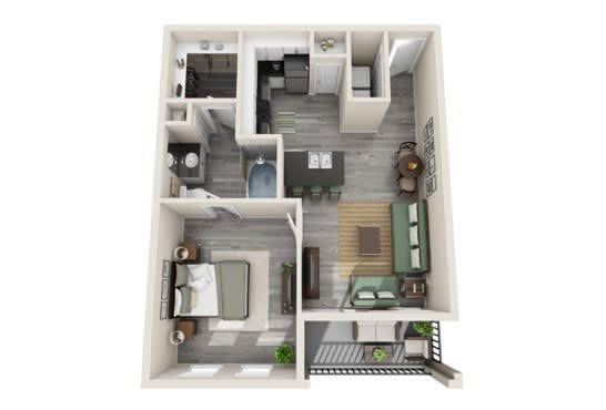 One-Bedroom Floor Plan at The Mansions McKinney, Texas