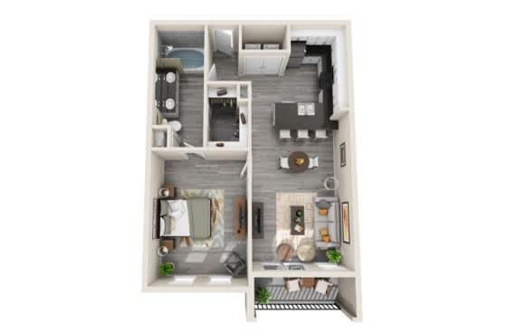 One-Bedroom Floor Plan at The Mansions McKinney, McKinney, 75070