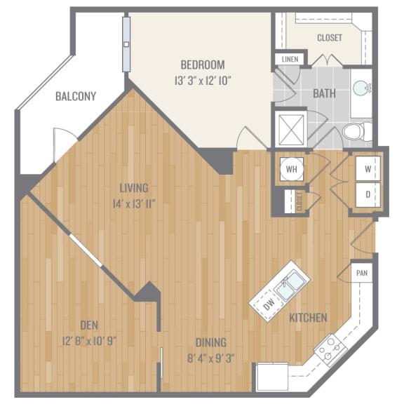 One-Bedroom Floor Plan at Berkshire, Auburn, Dallas, TX