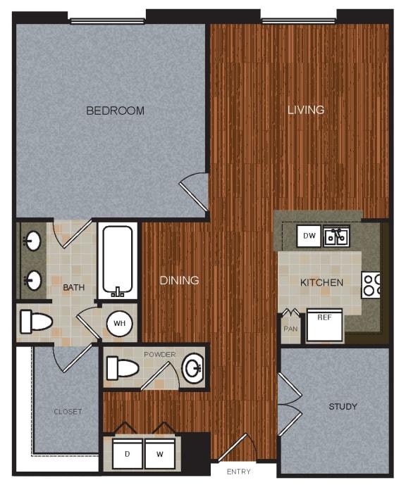 B2D Floor Plan at Berkshire Riverview, Austin, TX
