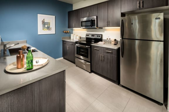 White or Espresso Cabinets at One Santa Fe Residential, Los Angeles