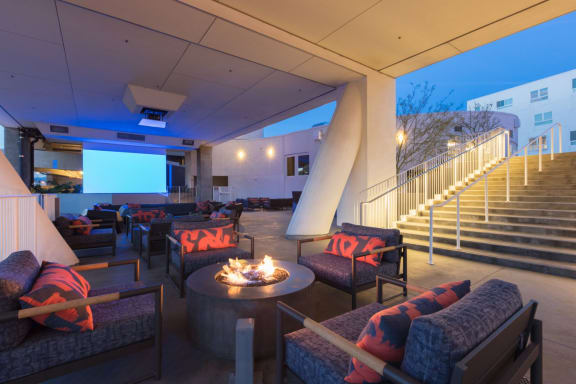 Outdoor Theater at One Santa Fe Residential, Los Angeles, CA