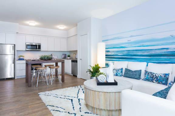 Sofa and kitchen area
