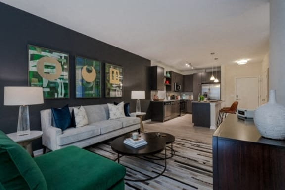 Modern Living Room With Kitchen View at Berkshire Chapel Hill, Chapel Hill, NC, 27514