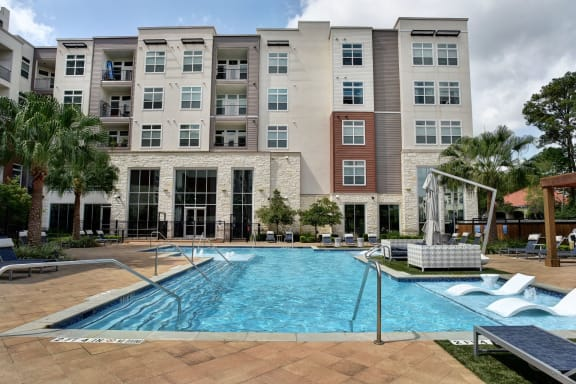 Swimming Pool With Relaxing Sundecks at Vargos on the Lake, Houston, Texas