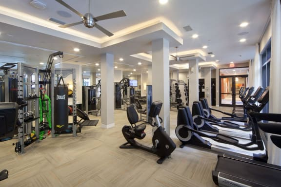 Fitness Center With Modern Equipment at Berkshire Coral Gables, Miami, Florida