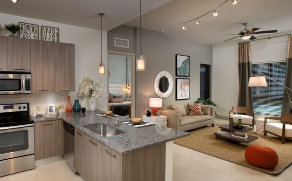Living Room With Kitchen View at Berkshire Coral Gables, Miami, FL, 33146