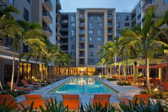 Swimming Pool with Lounge Seating at Berkshire Coral Gables, Miami, FL, 33146