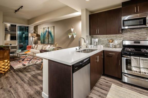 Living Room Come Kitchen View at Berkshire K2LA, Los Angeles, 90005
