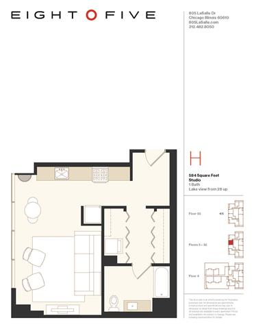 Studio2 Floor Plan at Eight O Five, Chicago, IL