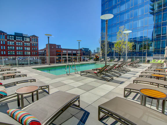 Swimming Pool With Relaxing Sundecks at The Benjamin Seaport Residences, Boston, 02210
