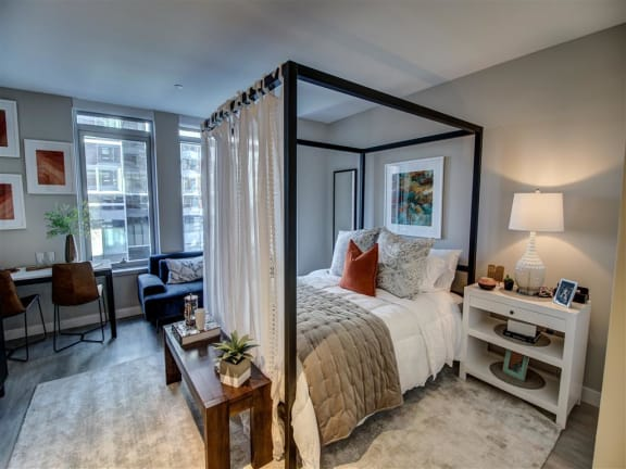 Bedroom With Expansive Windows at Via Seaport Residences, Boston, MA, 02210