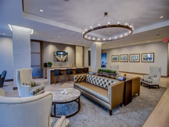 High Ceiling Lounge Area at Via Seaport Residences, Boston, MA