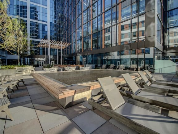 Poolside Relaxing Area at Via Seaport Residences, Boston, 02210