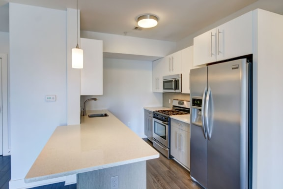 New Apartments Charlestown MA with High End Kitchen with Stainless Appliances and Quartz Counters-Gatehouse 75 Apartments