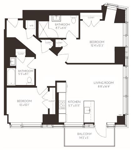 VI2G1 Floor Plan at Via Seaport Residences, Massachusetts