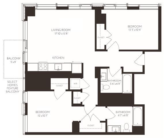 VI2I1 Floor Plan at Via Seaport Residences, Boston, 02210