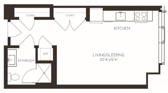 VISA3 Floor Plan at Via Seaport Residences, Boston, MA