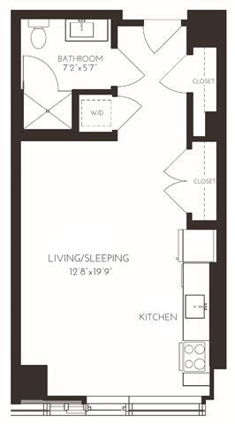 VISA5 Floor Plan at Via Seaport Residences, Boston, MA, 02210