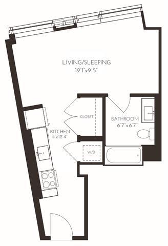 VISD1 Floor Plan at Via Seaport Residences, Boston