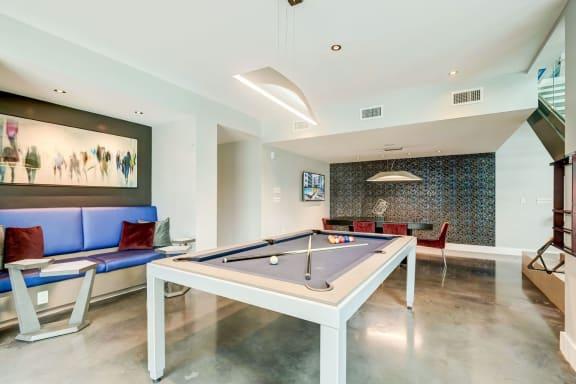 Gaming lounge with billiards at Berkshire Terminus, Atlanta, GA 30305