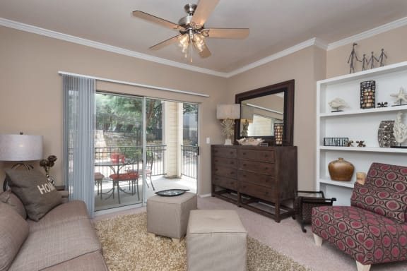 Spacious Living Room With Private Balcony at San Marin, Austin, TX