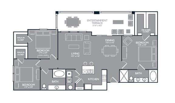 Three Bed Two Bath Floor Plan at Towers at Spring Creek, Garland