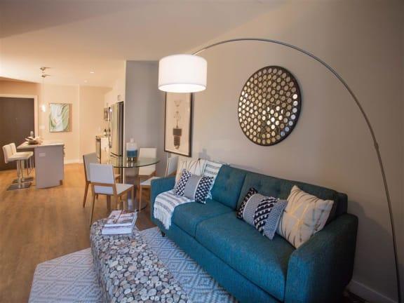 Modern Living Room at Via Seaport Residences, Boston, 02210
