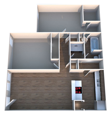 C Two Bed One Bath Floorplan at Summerstone Apartments, Victoria, Texas