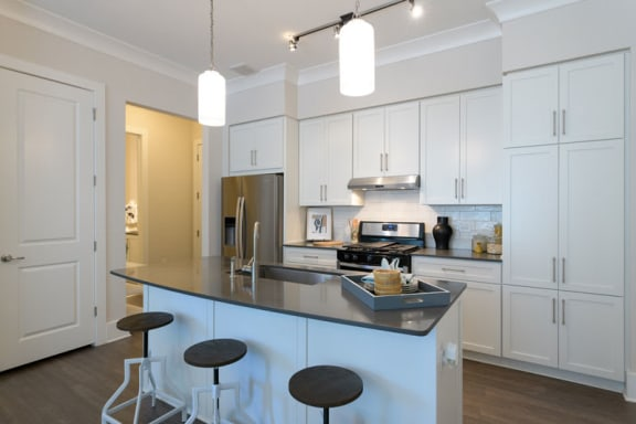modern kitchen with quartz counters at Vickers Roswell - Roswell GA
