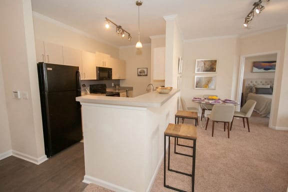 Fitted Kitchen With Island Dining at The Point At Westside, Atlanta, GA