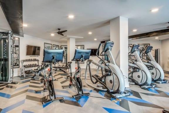 Peloton Cycle With Cardio Area at Spoke Apartments in Atlanta, Georiga
