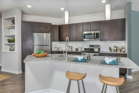 modern kitchen at Luminary at 95 apartments West Melbourne, FL